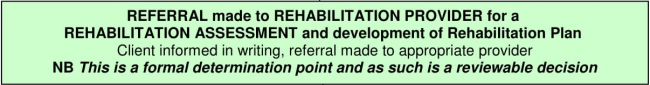 Rehabilitation referralto rehabilitation provider